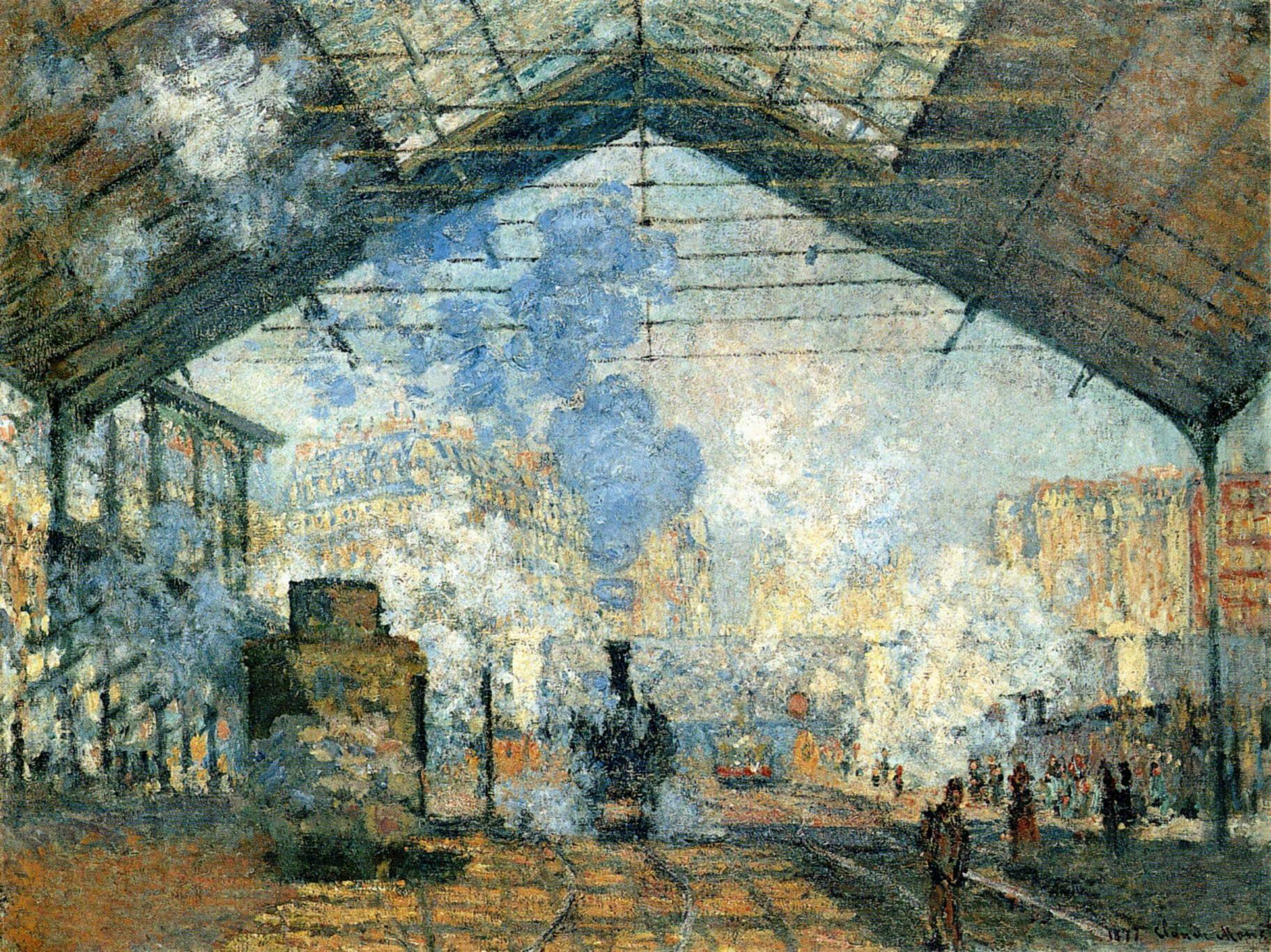"Claude Monet, ""La gare Saint-Lazare,"" 1877. Via King's Academy."