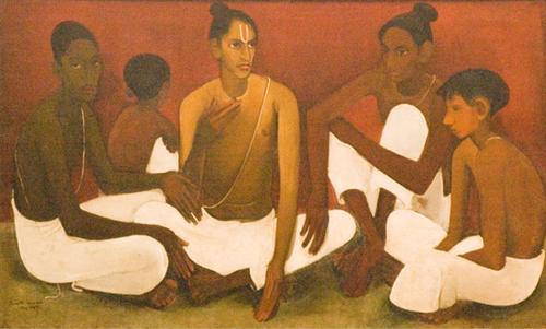 "Amrita Sher-Gil, ""Brahmacharis,"" 1937. Via WikiArt."