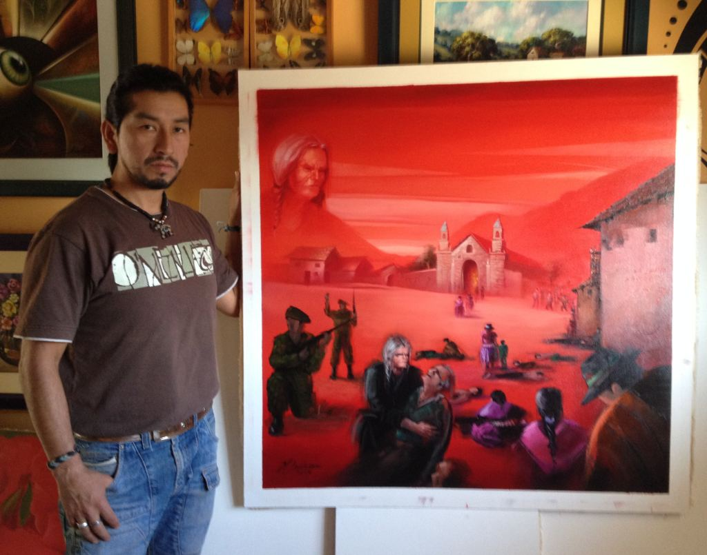 "A painting by Holser Ludeña Pucllas portrays a remote Ayacucho village caught ""between two fires"" during Peru's internal armed conflict. By Steven T. Zech."