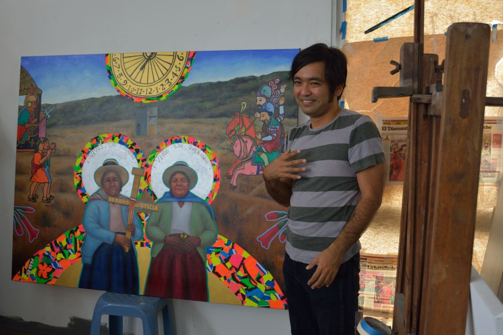 "Jorge Miyagui shares his painting ""Coloniality' which depicts the colonial encounter between conquistadors and Inca Atahualpa, the furnace at Los Cabitos military base in Ayacucho, and two ANFASEP mothers: Angélica Mendoza and Lidia Flores. The text reads, ""Alive you took them, alive we want them,"" a popular slogan used by the mothers of the disappeared. By Steven T. Zech."