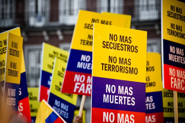 Demonstration against the FARC guerrilla group held in Madrid and in 130 cities around the globe simultaneously, Feb 4, 2008. By Camilo Rueda Lopez.