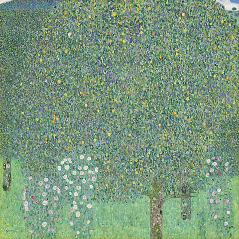 Rosebushes Under the Trees, circa 1905. By Gustav Klimt.