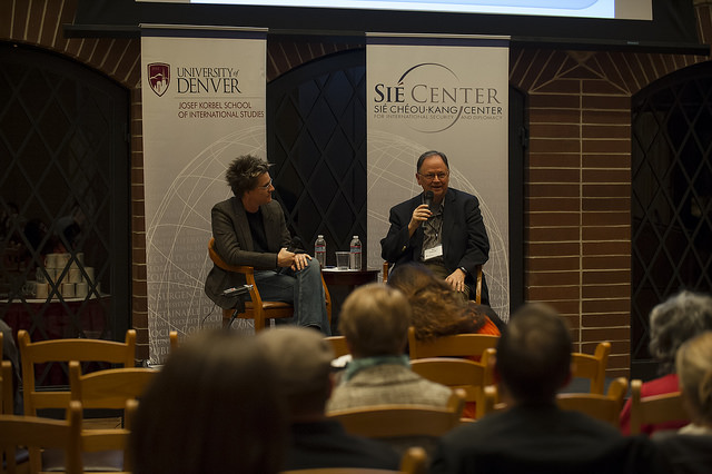 "Professor Erica Chenoweth discusses the challenges of civilian peacekeeping with Mel Duncan, founding Executive Director of Nonviolent Peaceforce, as a part of the ""Bridging the Academic-Policy Gap"" at the Sié Chéou-Kang Center for International Security and Diplomacy at the Josef Korbel School of International Studies. By University of Denver."