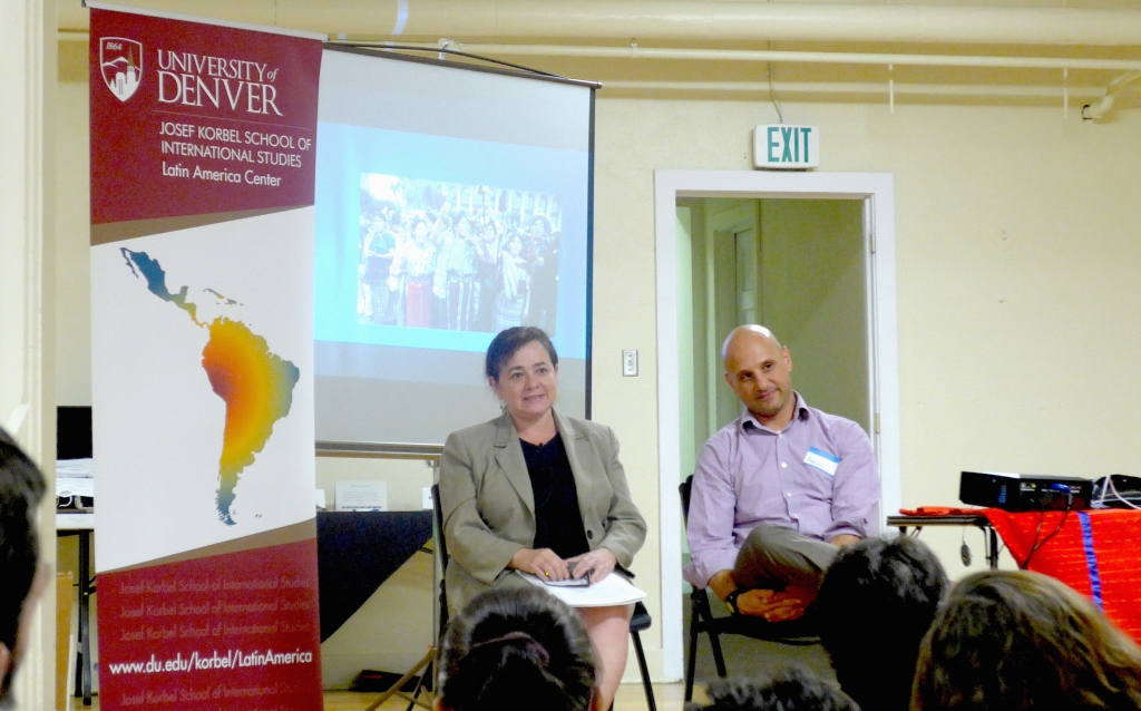 Former Attorney General of Guatemala and Nobel Peace Prize nominee, Claudia Paz y Paz, speaks to University of Denver community members, October 1, 2015. By Cassy Dorf.