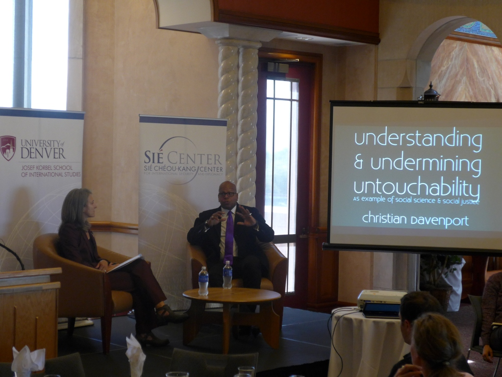 Professor Deborah Avant and Professor Christian Davenport discuss halting state repression at the Sie Center, University of Denver, October 7, 2015. By the University of Denver.