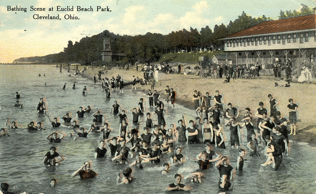 Bathing scene at Euclid Beach Park, Cleveland, Ohio. Via Miami University Libraries Digital Collection.