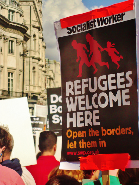 A refugee event in London, September 12, 2015. By Alex Donohoe.