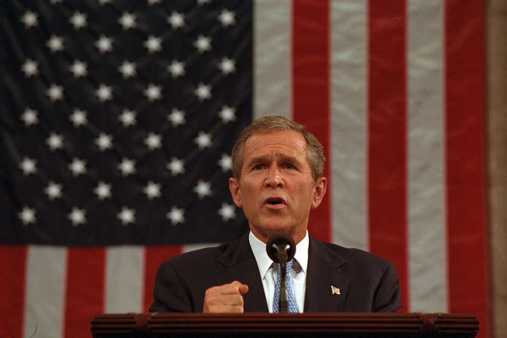 President George W. Bush delivers an address regarding the September 11 terrorist attacks on the United States to a joint session of Congress Thursday, Sept. 20, 2001, at the U.S. Capitol. Photo by Eric Draper, Courtesy of the George W. Bush Presidential Library