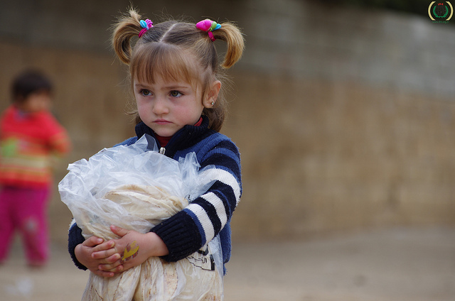 Bread distribution inside Syria by IHH Humanitarian Relief Foundation.