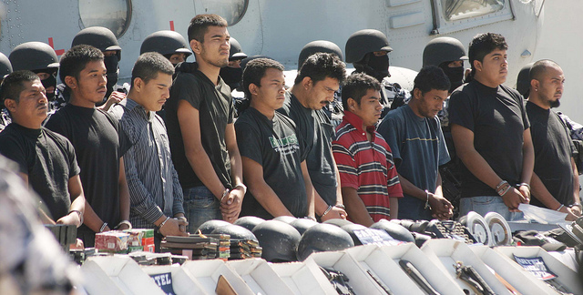The Mexican Marine Corps detains thirty individuals allegedly linked to the Gulf Cartel from Tamulipas state in Mexico City, September 29, 2010. Source: Jesús Villaseca Pérez.