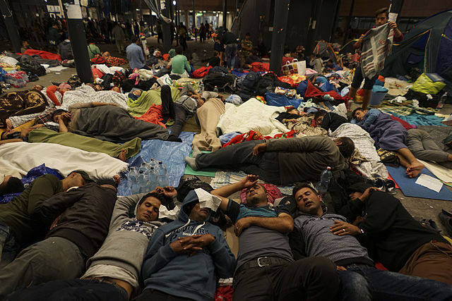Syrian refugees having rest at the floor of Keleti railway station in Budapest, Hungary, on September 5th, 2015. By Mstyslav Chernov.