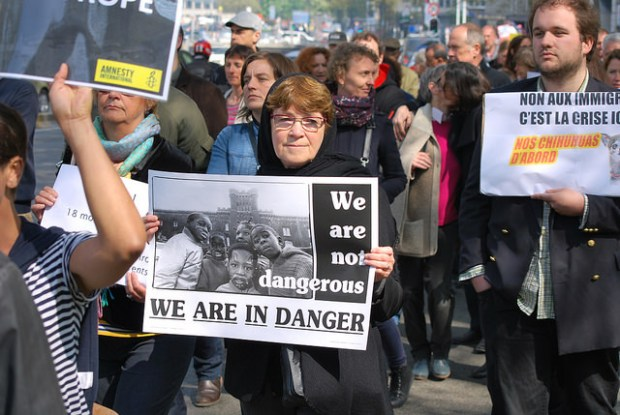 In Brussels, more than 1,200 people protest against Europe's unwillingness to really do something about the refugee crisis in the Mediterranean, April 23rd, 2015. By Amnesty International.