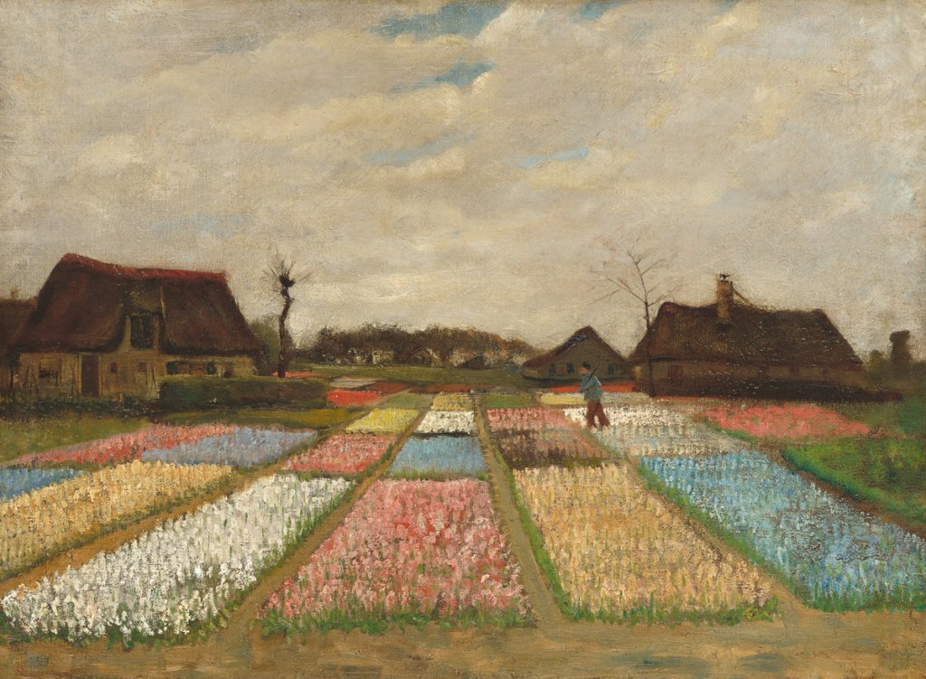 Vincent van Gogh (Dutch, 1853 - 1890 ), Flower Beds in Holland, c. 1883, oil on canvas on wood, Collection of Mr. and Mrs. Paul Mellon