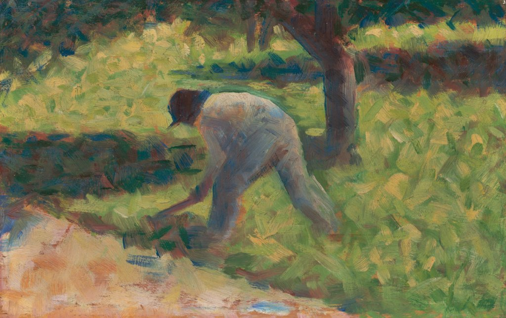 Georges Seurat (French, 1859 - 1891 ), Peasant with a Hoe, c. 1882, oil on panel, Collection of Mr. and Mrs. Paul Mellon 2014.18.49