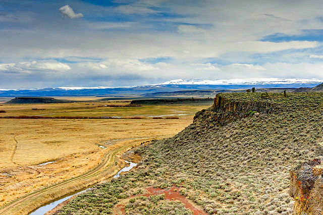 A view of the Steens Mountains from the Buena Vista Overlook located in the Malheur National Wildlife Refuge. By: Jeff Sorn.