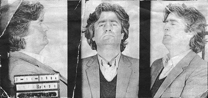 File picture from Bosnian police records show Radovan Karadžić when he was arrested for war crimes in November 1984. Via: Wikimedia.