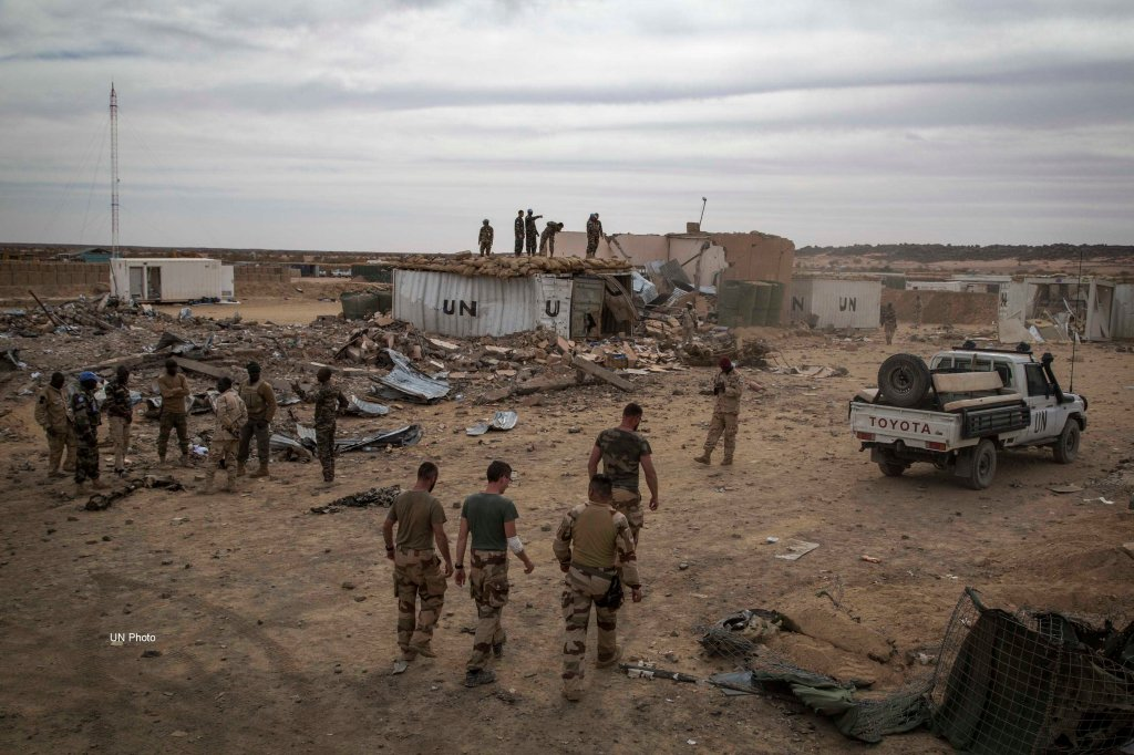 Peacekeepers clear the area in the aftermath of the terror attack during which six peacekeepers from Guinea were killed and many other injured at the MINUSMA Camp in Kidal, Mali.