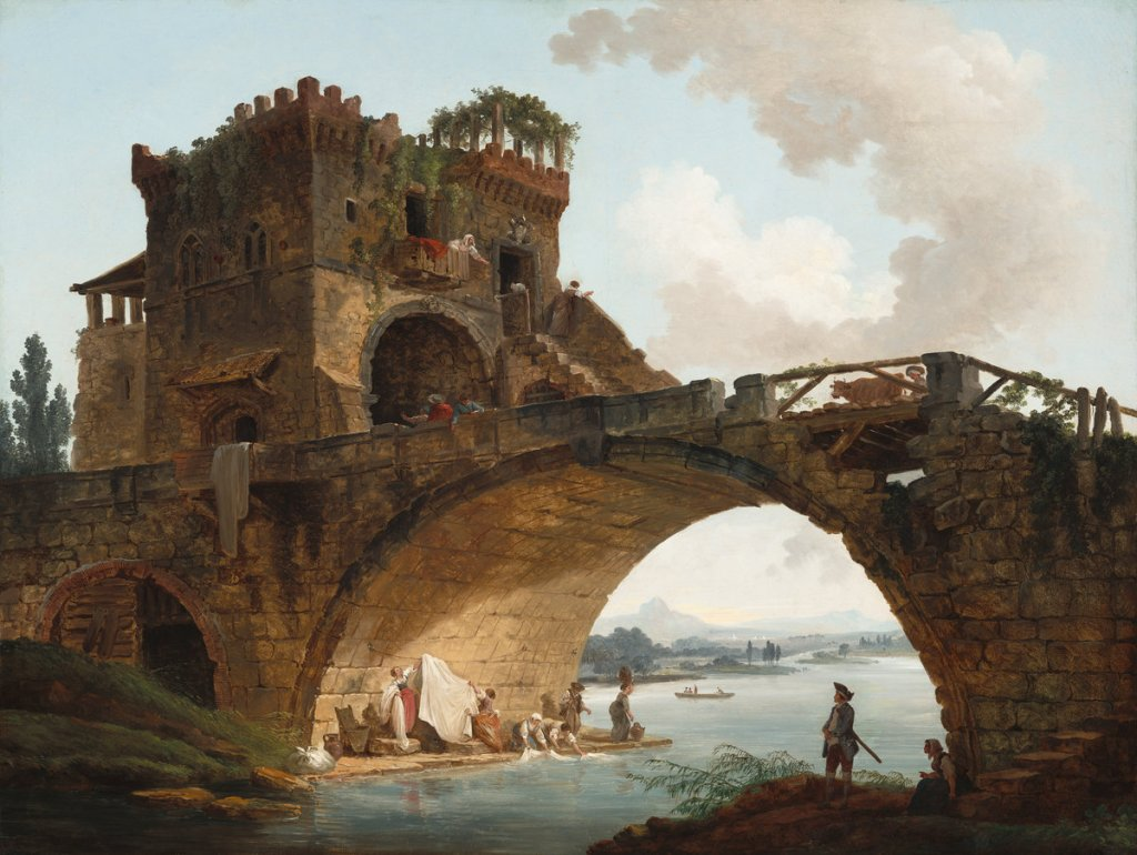 Hubert Robert, The Ponte Salario, French, 1733 - 1808, c. 1775, oil on canvas, Samuel H. Kress Collection