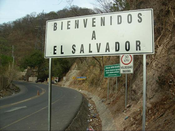 Entering El Salvador from Guatemala on the Pan American Highway, Central America. By J. Stephen Conn.