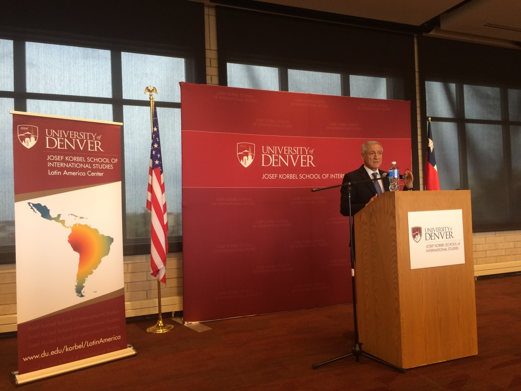 Chilean Foreign Minister Heraldo Muñoz offers remarks for the inauguration of the new Latin America Center suite at the Josef Korbel School of International Studies, May 6th, 2016. By: Oliver Kaplan.