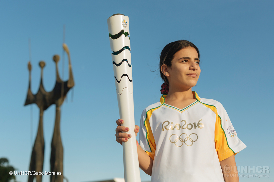 Syrian refugee Hanan Dacka after taking part in the 2016 Olympic Games torch relay in Brasilia, Brazil, on May 3rd, 2016. © UNHCR/Gabo Morales
