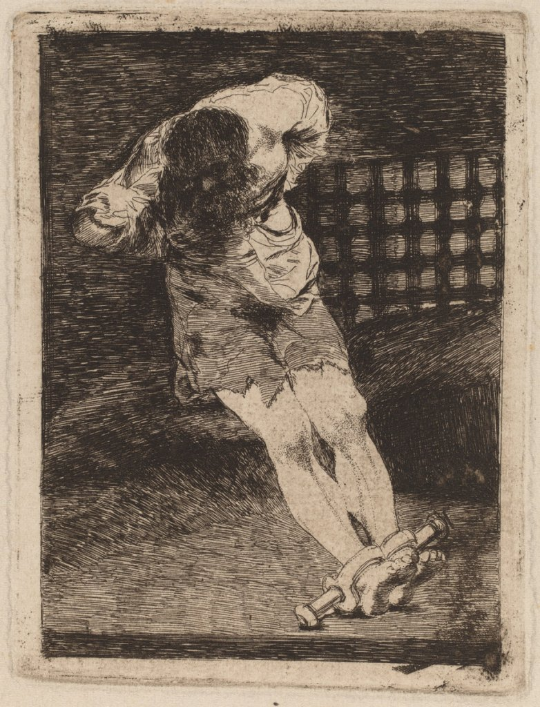 Francisco de Goya (Spanish, 1746 - 1828 ), La seguridad de un reo no exige tormento (The Custody of a Criminal Does Not Call for Torture, c. 1810, etching and burin [trial proof printed posthumously before 1859], Rosenwald Collection 1951.10.41