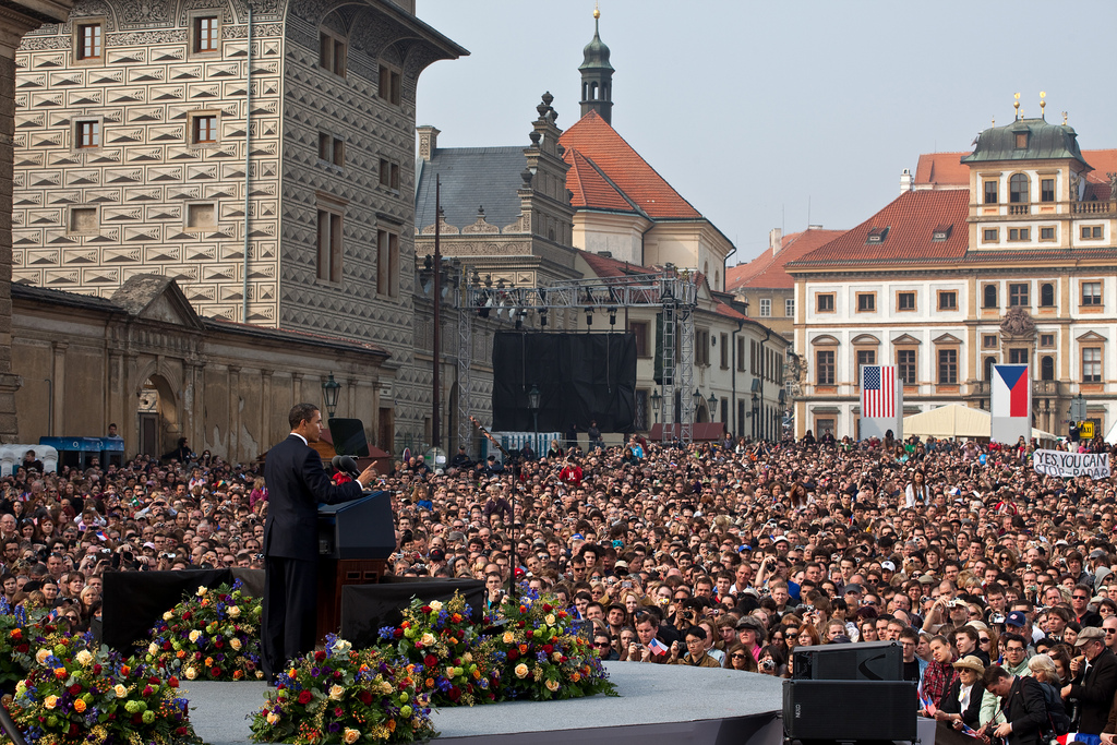 President Barack Obama delivers his first major speech stating a commitment to seek the peace and security of a world without nuclear weapons in front of thousands in Prague, Czech Republic, April 5, 2009. (Official White House Photo by Pete Souza) This official White House photograph is being made available only for publication by news organizations and/or for personal use printing by the subject(s) of the photograph. The photograph may not be manipulated in any way and may not be used in commercial or political materials, advertisements, emails, products, promotions that in any way suggests approval or endorsement of the President, the First Family, or the White House.