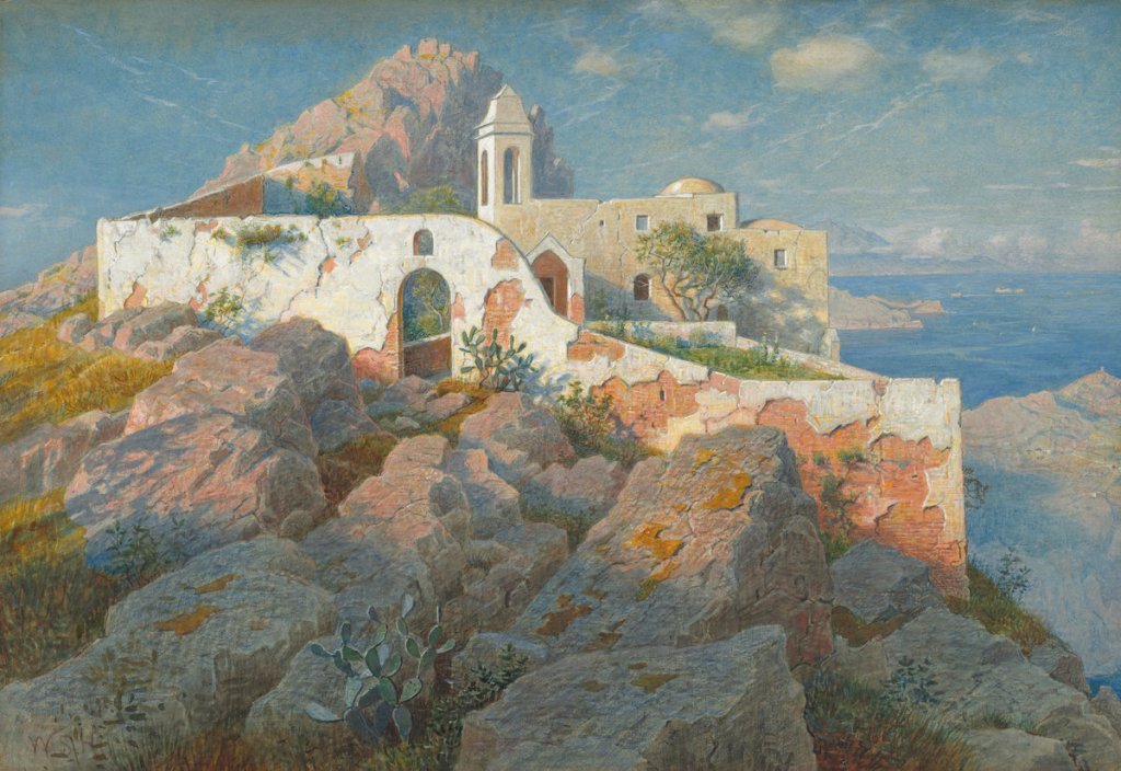 William Stanley Haseltine (American, 1835 - 1900 ), Santa Maria a Cetrella, Anacapri, c. 1892, watercolor and gouache over graphite, Joseph F. McCrindle Collection 2009.70.136
