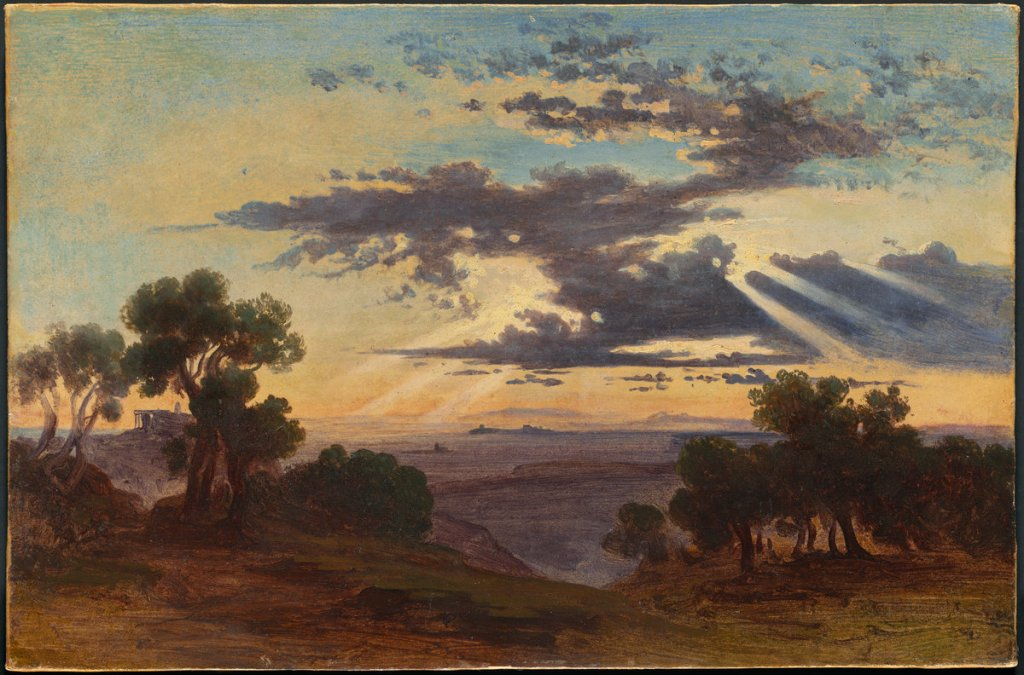 Johann Jakob Frey (Swiss, 1813 - 1865 ), Sun Breaking through Clouds above the Roman Campagna, 1844 or after, oil on paper mounted on a second sheet and then on canvas, Joseph F. McCrindle Collection 2009.70.122
