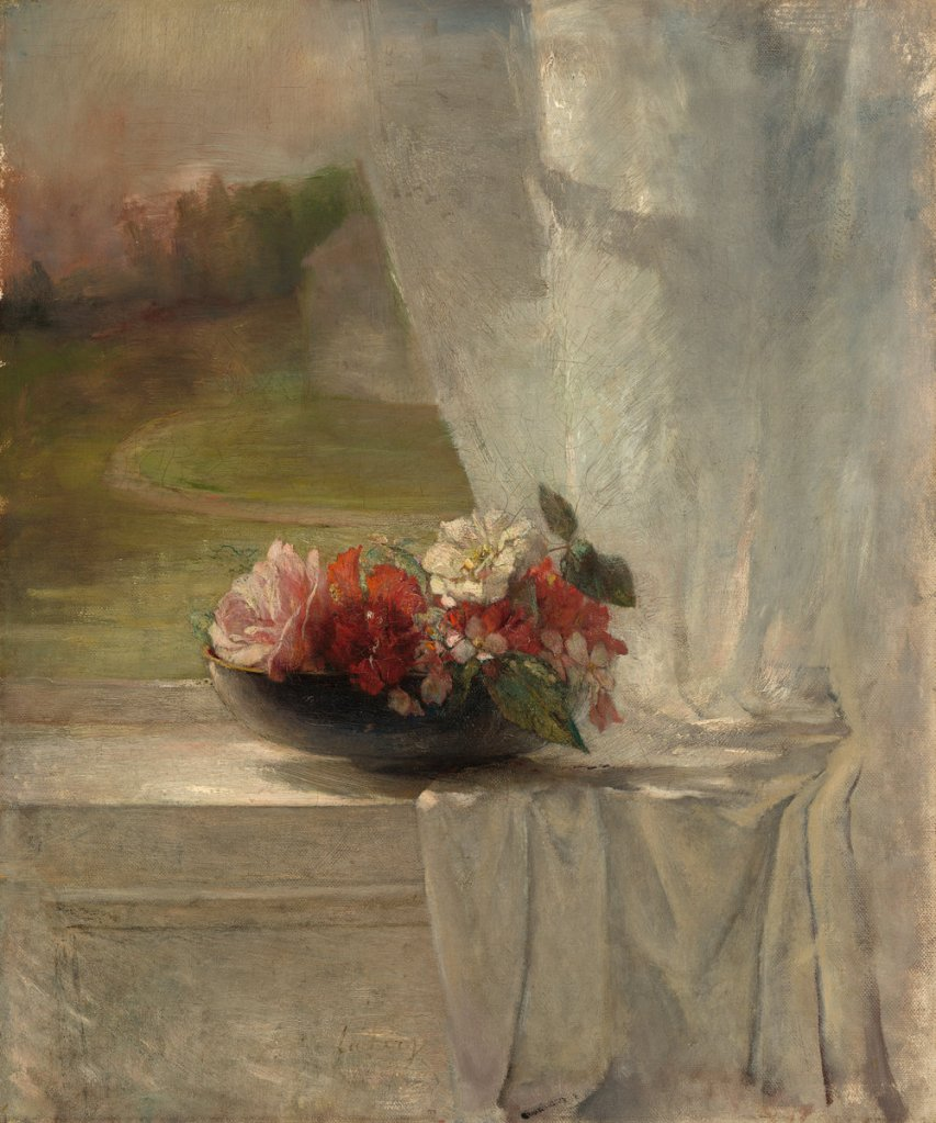 John La Farge (American, 1835 - 1910 ), Flowers on a Window Ledge, c. 1861, oil on canvas, Corcoran Collection (Museum Purchase, Anna E. Clark Fund) 2014.79.25