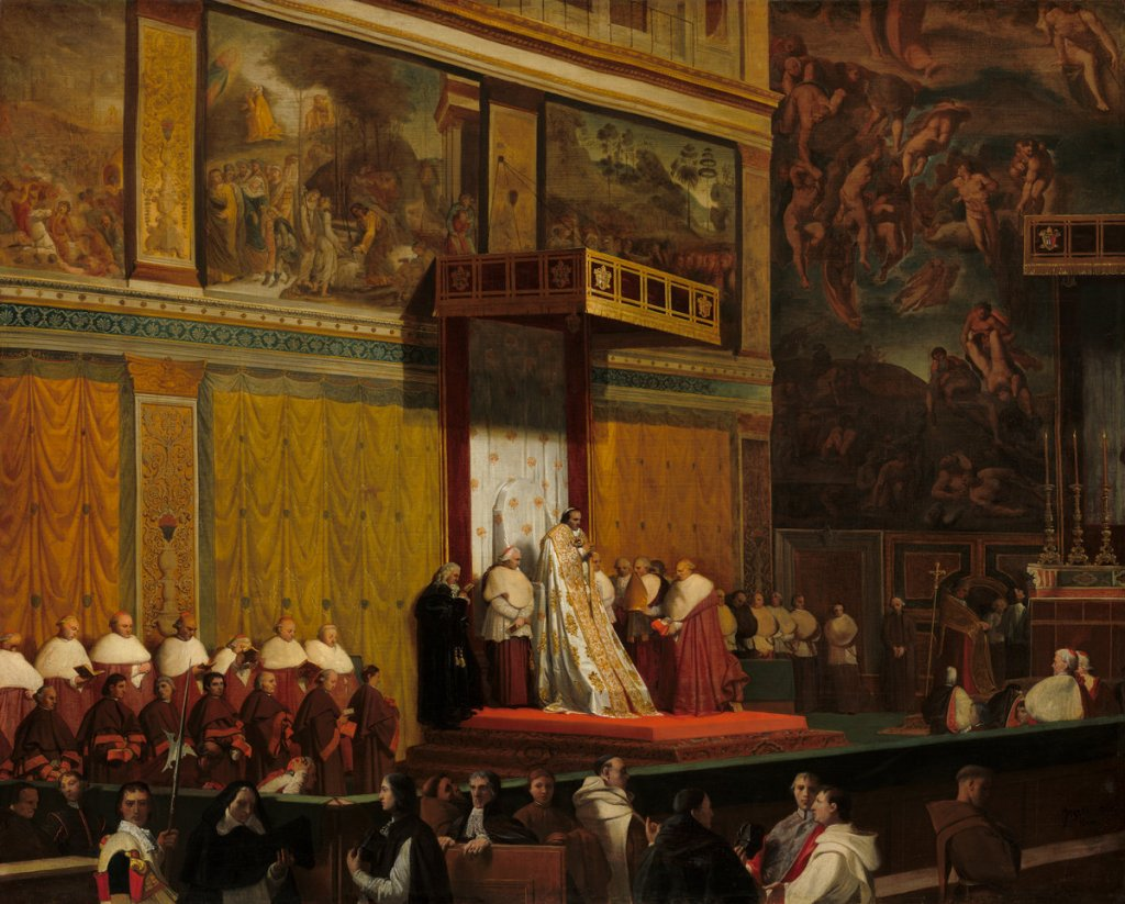 Jean-Auguste-Dominique Ingres (French, 1780 - 1867 ), Pope Pius VII in the Sistine Chapel, 1814, oil on canvas, Samuel H. Kress Collection 1952.2.23
