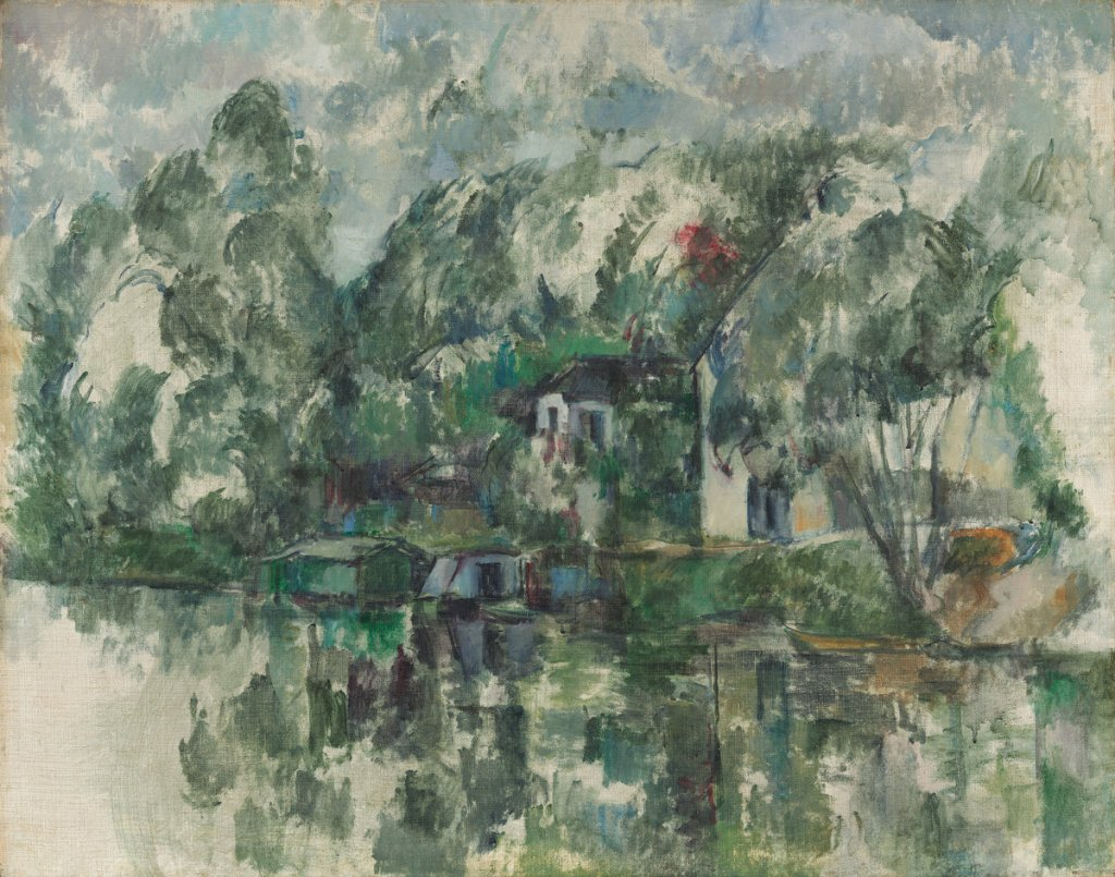 Paul Cézanne (French, 1839 - 1906 ), At the Water's Edge, c. 1890, oil on canvas, Gift of the W. Averell Harriman Foundation in memory of Marie N. Harriman