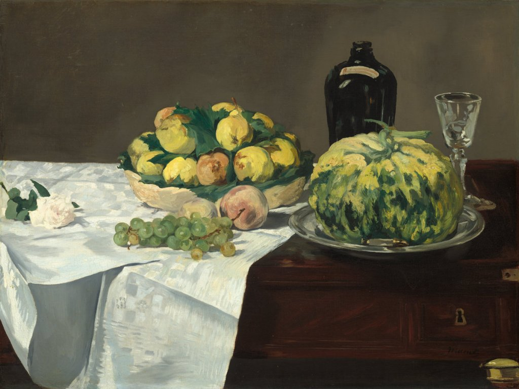 Edouard Manet, Still Life with Melon and Peaches, French, 1832 - 1883, c. 1866, oil on canvas, Gift of Eugene and Agnes E. Meyer